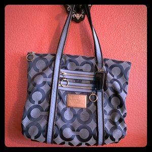 Authentic Coach blue denim poppy tote shoulder bag